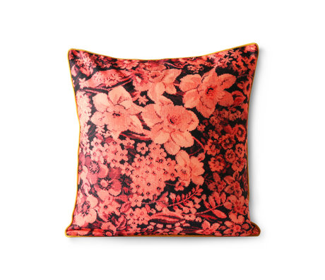HK-living Sierkussen Printed Floral koraal zwart polyester katoen 50x50cm