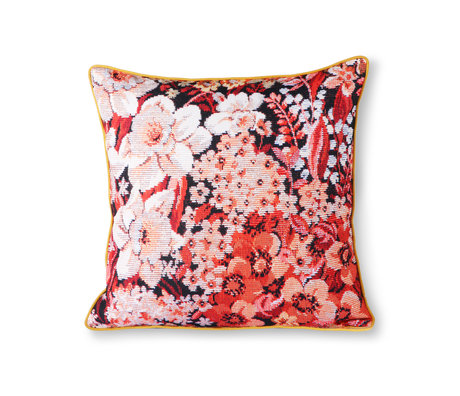 HK-living Cushion Printed Floral multicolour polyester cotton 50x50cm
