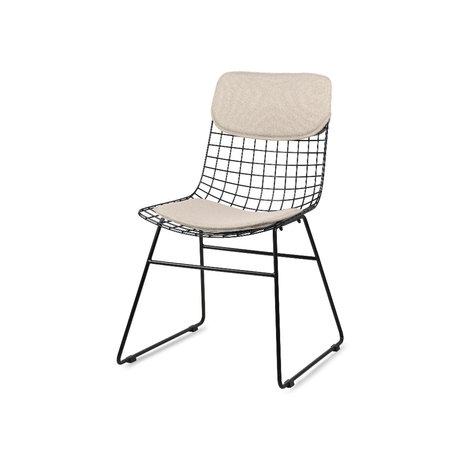 HK-living Coussins pour chaise en fil Comfort Kit Pebble lin lin sable