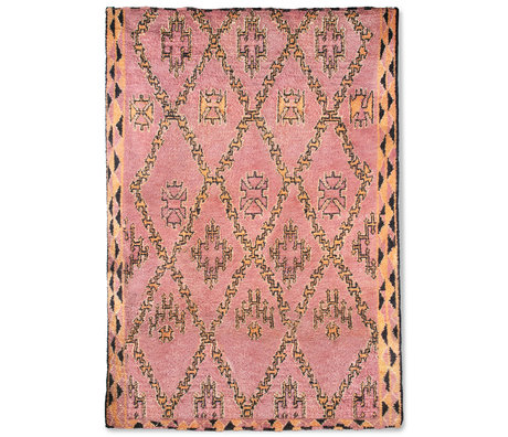 HK-living Berber blanket Hand Knotted terra orange wool 250x350cm