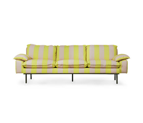 HK-living Sofa Retro 4-Sitzer Streifen nude gelb Polyester 245x83x95cm