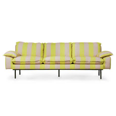 HK-living Bank retro 4-zits strepen nude geel polyester 245x83x95cm