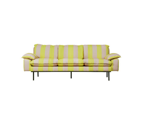HK-living Bank retro 3-zits strepen nude geel polyester 225x83x95cm