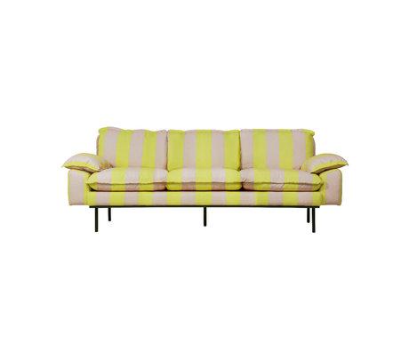 HK-living Canapé rétro 3 places rayures jaune polyester nude 225x83x95cm