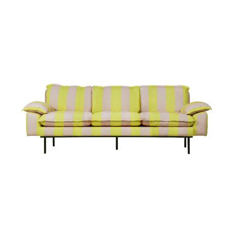 HK-living Sofa Retro 3-Sitzer Streifen nude gelb Polyester 225x83x95cm