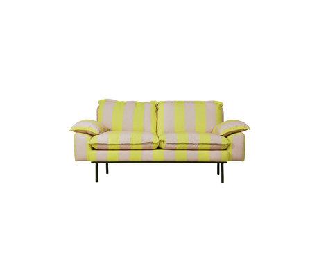HK-living Canapé rétro 2 places rayures jaune nude polyester 175x83x95cm