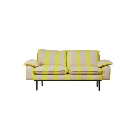 HK-living Bank retro 2-zits strepen nude geel polyester 175x83x95cm