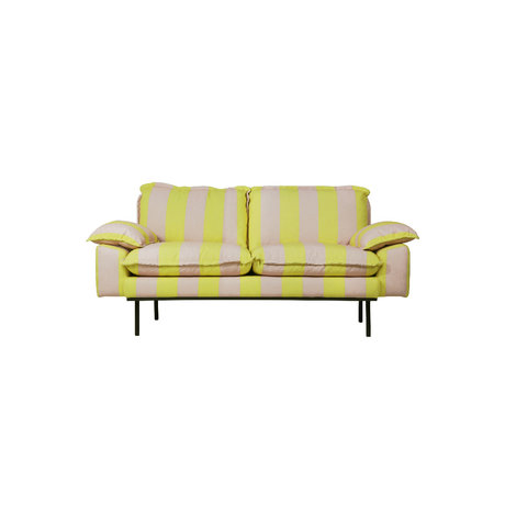 HK-living Sofa Retro 2-Sitzer Streifen nude gelb Polyester 175x83x95cm