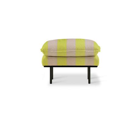 HK-living Hocker Retro Streifen nackt gelb Polyester 72x65x46cm