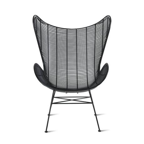HK-living Chaise Outdoor Egg noir fer plastique 74x81x110cm