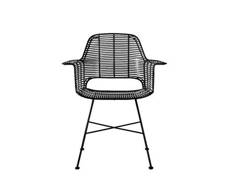 HK-living Stuhl Außenwanne aus schwarzem Eisen Kunststoff 67x56x83cm