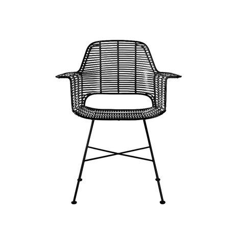 HK-living Stoel Outdoor kuip zwart ijzer plastic 67x56x83cm