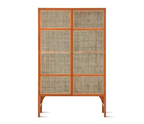 HK-living Cupboard Retro Webbing with shelves orange Sunkai wood 125x40x200cm