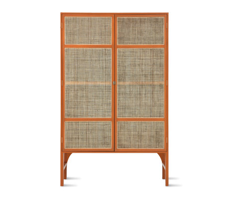 HK-living Kast Retro Webbing with shelves oranje Sunkai hout 125x40x200cm