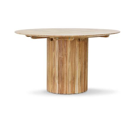 HK-living Eettafel rond bruin teakhout 140x140x75cm