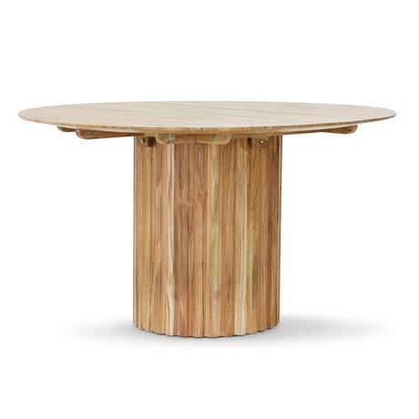 HK-living Table à manger ronde en teck marron 140x140x75 cm