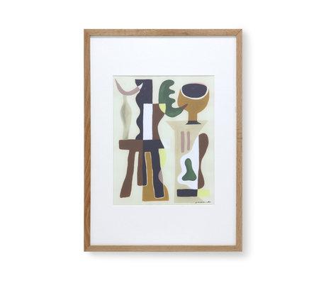 HK-living Schilderij bij Garance Valleé glas papier 49x2,5x69cm