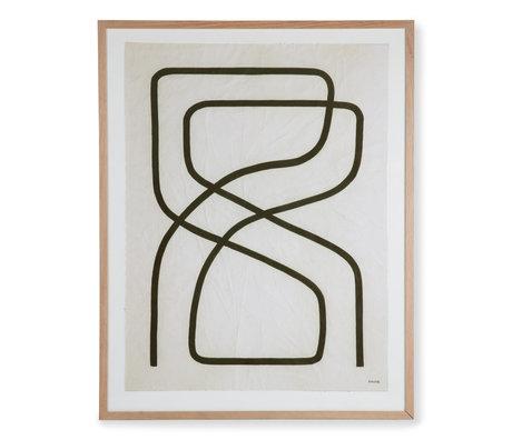 HK-living Schilderij bij Benjamin Eqing multicolour glas papier 74,8x2,5x94,8cm
