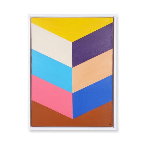 HK-living Peinture coups colorés multicolore toile bois 60x80x3cm