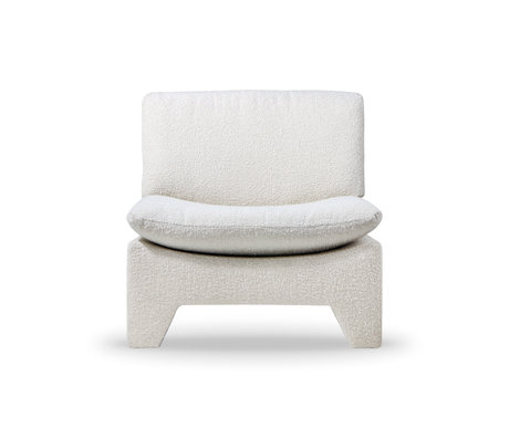 HK-living Fauteuil Retro Lounge Boucle cream acryl polyester 82x84x76cm