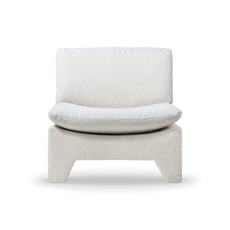 HK-living Fauteuil Retro Lounge Boucle cream bruin acryl polyester 82x84x76cm