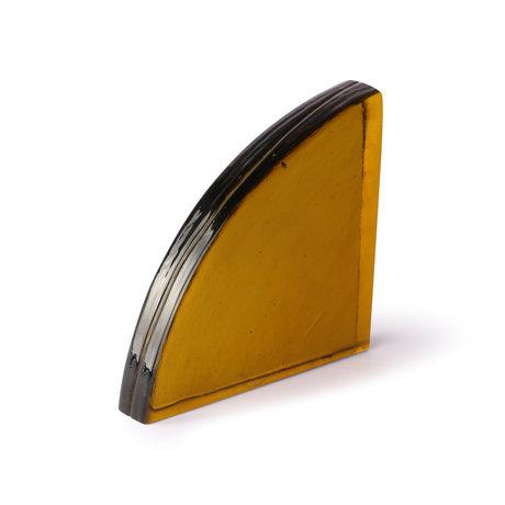 HK-living Deco-object Mustard oker bruin glas 14x3x15cm