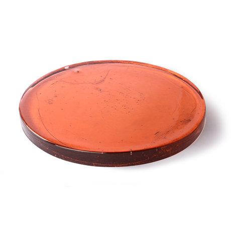HK-living Deco object Peach orange glass 40x40x3cm