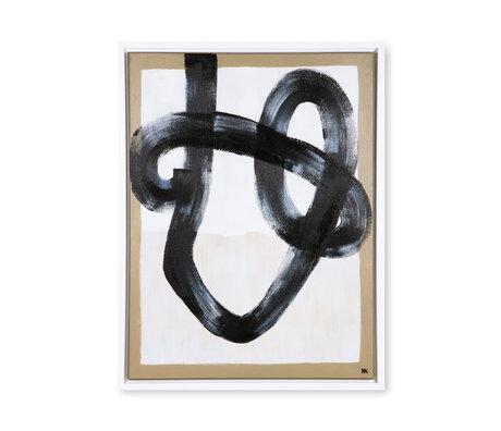 HK-living Schilderij Organic Brush zwart cream hout canvas 60x80x3cm