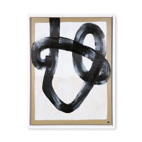 HK-living Peinture Pinceau Organique Toile Bois Crème Noir 60x80x3cm