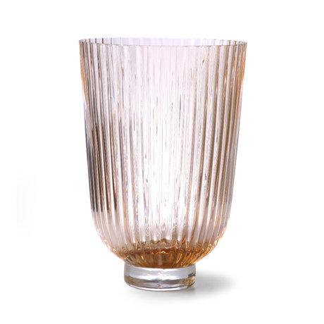 HK-living Vase Verre Côtelé Pêche Violet 19x19x27cm
