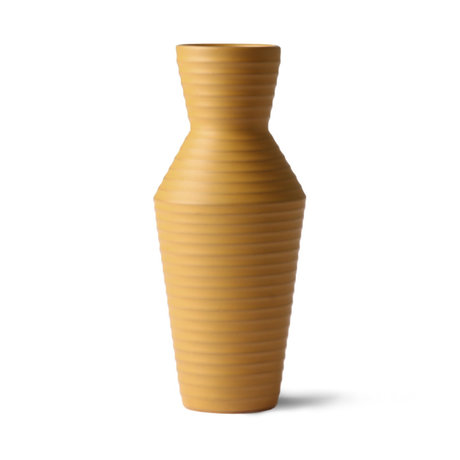 HK-living Vaas Ceramic Flower Ochre bruin geel keramiek 16x16x31cm