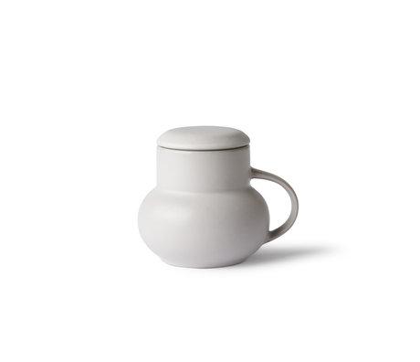HK-living Mug BubbleTea M céramique gris clair 12x10x10cm