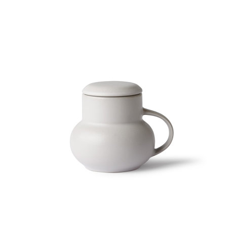 HK-living Mug BubbleTea M light gray ceramic 12x10x10cm