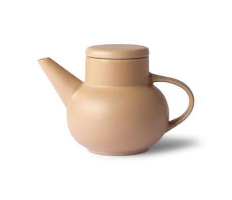 HK-living Thee pot Bubble Tea zand bruin keramiek 19,5x13x13cm