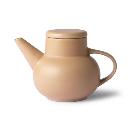 HK-living Tea pot Bubble Tea sand brown ceramic 19,5x13x13cm