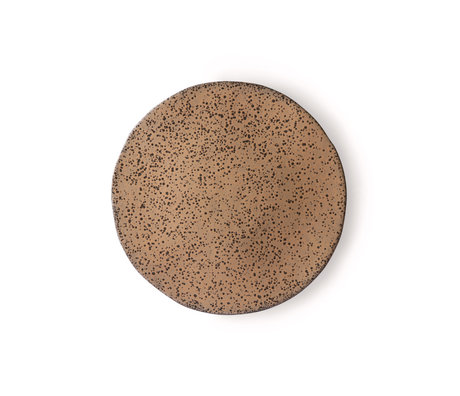 HK-living Ontbijtbord Gradient taupe donkergrijs keramiek 22,5x22,5x1,5cm ⌀ 22,5