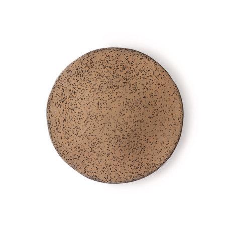 HK-living Frühstücksteller Gradient taupe dunkelgrau Keramik 22.5x22.5x1.5cm ⌀ 22.5