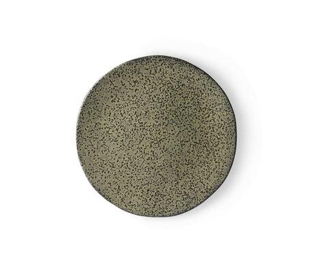 HK-living Assiette petit déjeuner Dégradé de céramique verte 22,5x22,5x1,5 cm ⌀ 22,5