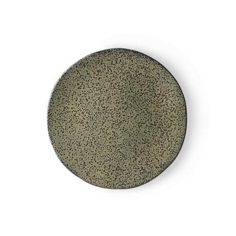 HK-living Ontbijtbord Gradient groen keramiek 22,5x22,5x1,5cm ⌀ 22,5