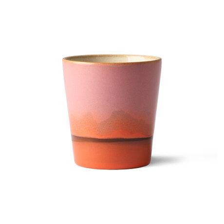 HK-living Becher 70er Mars mehrfarbig Keramik 7,5x7,5x8cm