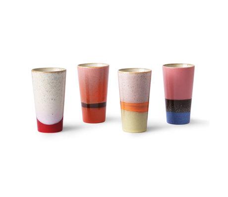 HK-living Becher 70er Latte Set aus 4 mehrfarbigen Keramiken 7,5x7,5x13cm