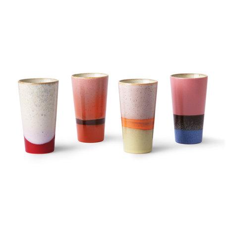 HK-living Mok 70's Latte set van 4 multicolour keramiek 7,5x7,5x13cm