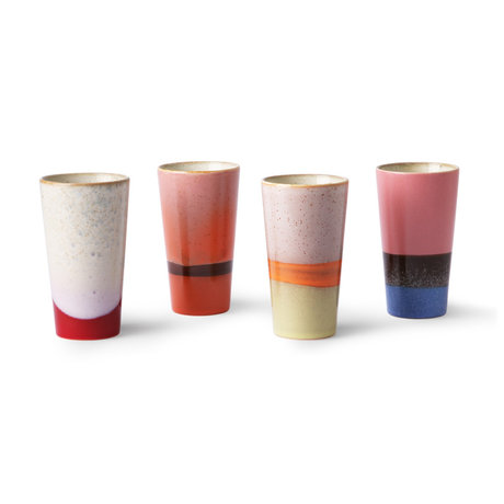 HK-living Mug 70's Latte set of 4 multicolour ceramics 7,5x7,5x13cm