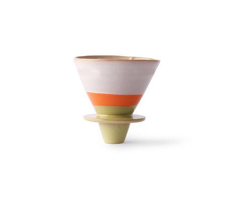 HK-living Koffie filter 70's multicolour keramiek 12x10x9cm