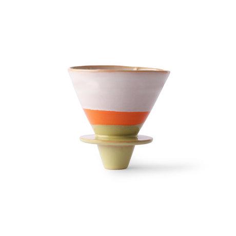 HK-living Kaffeefilter 70er Jahre mehrfarbige Keramik 12x10x9cm