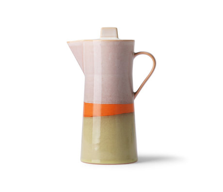 HK-living Kaffeekanne 70er Jahre mehrfarbige Keramik 10x10x23