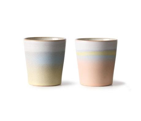 HK-living Suites Special: Becher 70's Horizon Set aus 2 mehrfarbigen Keramiken 7,5x7,5x8cm