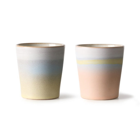 HK-living Suites Special: Mug 70's Horizon set of 2 multicolour ceramics 7,5x7,5x8cm