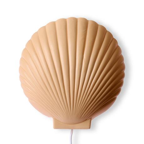 HK-living Suites Special: Wandlamp schelp terra bruin keramiek 19x8,5x20,5cm