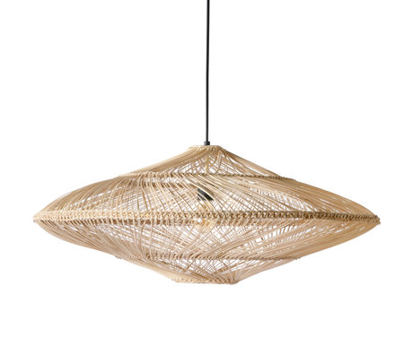 HK-living Lampe à suspension Osier ovale brun naturel osier 80x80x30,5cm